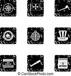 Search of mainland icons set, grunge style - Search of...