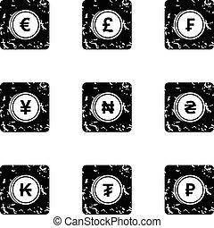 Finance icons set, grunge style - Finance icons set. Grunge...