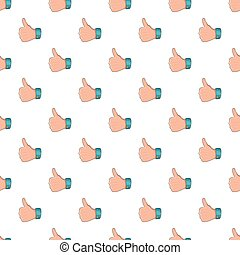 Thumb up gesture pattern, cartoon style - Thumb up gesture...