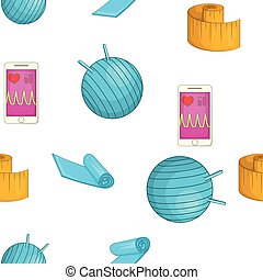 Fitness elements pattern, cartoon style - Fitness elements...