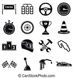 Racing speed icons set, simple style