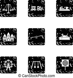 Kids games icons set, grunge style - Kids games icons set....