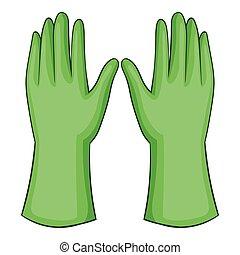 Garden gloves icon, cartoon style - Garden gloves icon....
