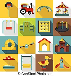 Playground icons set, flat style - Playground icons set....