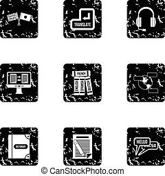 Language learning icons set, grunge style