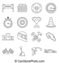 Racing speed icons set, ouline style