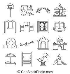 Playground icons set, outline style - Playground icons set....