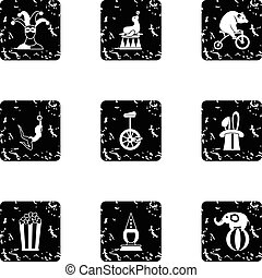 Concert in circus icons set, grunge style - Concert in...