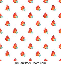 Fire and sky blue shield pattern, cartoon style - Fire and...