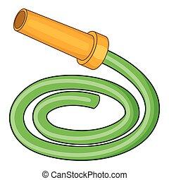 Garden hose icon, cartoon style