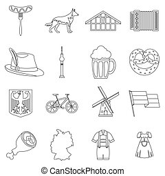 Germany icons set, outline style - Germany icons set....
