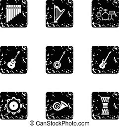 Musical device icons set, grunge style