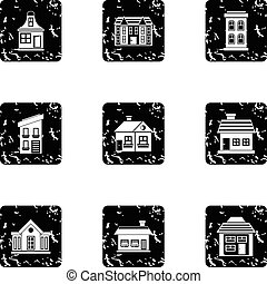 Habitation icons set, grunge style - Habitation icons set....