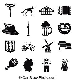 Germany icons set, simple style - Germany icons set. Simple...