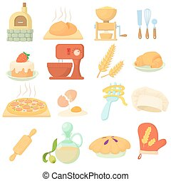 Bakery icons set, cartoon style - Bakery icons set. Cartoon...