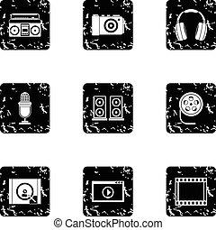 Electronic equipment icons set, grunge style - Electronic...