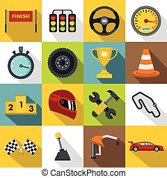 Racing speed icons set, flat style
