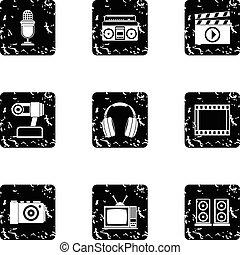 Communication device icons set, grunge style