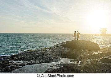 Indian Ocean coast in Kanyakumary, Tamil Nadu, India - Two...