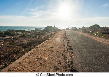 Road to sunset view point in Kanyakumari, Tamil Nadu, India