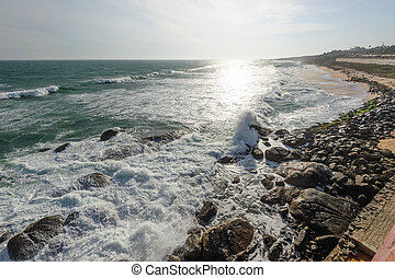 Indian Ocean coast in Kanyakumary, Tamil Nadu, India -...