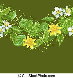 Spring green leaves and flowers. Seamless border with plants, twig, bud