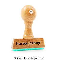bureaucracy concept with stamp in office and copyspace