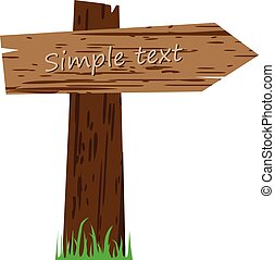 Wooden sign on a grass  vector illustration isolated