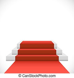 Empty three step podium with red carpet