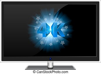 Modern widescreen TV with blue 4K sign on black screen...