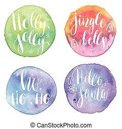 Holly Jolly, HoHoHo, Hello santa, Jingle bells on watercolor...