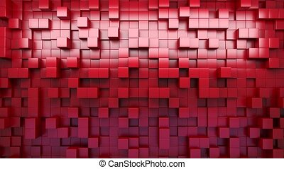3D rendering. Red extruded cubes. Abstract background. Loop....