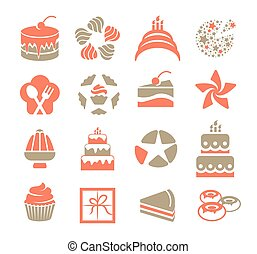 Cakes logo set in vintage style. Pink and grey color desserts logotypes. Piece of pie icon on white background. Tasty pastry signs collection. Donuts contour vector illustration.