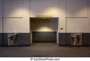Public Restroom - a public restroom in an office building