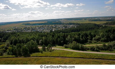 Aerial view country road field russia - Aerial view car...
