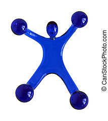 Plastic massage tool in the form of man performing gymnastic...