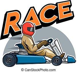 Gokart Winning Racer - Vector illustration for go kart race...