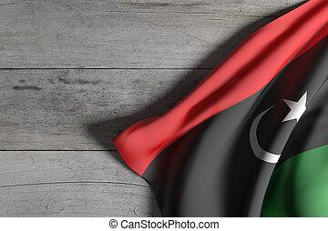 Libya flag waving - 3d rendering of Libya flag waving on...
