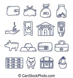 Set of money safety icons in line style