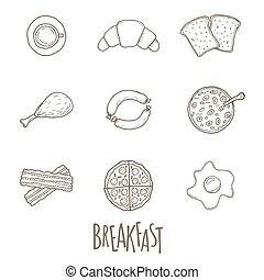 Breakfest hand drawn icon set over white background. Doodle...