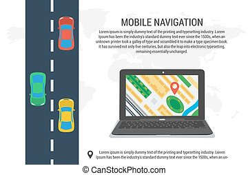 Poster of computer navigation system - Vector concept mobile...
