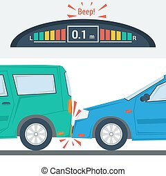 Car accident flat illustration isolated - Vector flat...