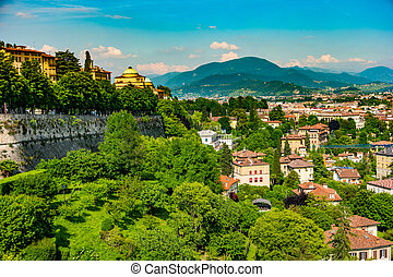 Panoramic view of Citta Alta, old town. Bergamo, Lombardy,...