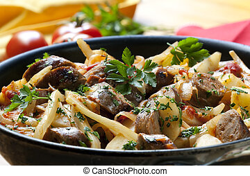 Sausage Casserole - Casserole with sausages and vegetables,...