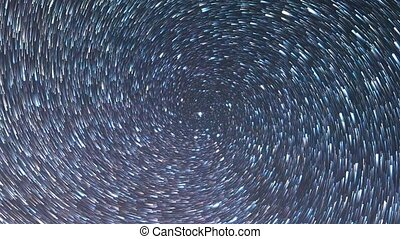 Stars like meteors in screw spiral. Zoom. Time Lapse. Short...