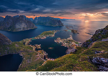 Norway. - View from Reinebringen at Lofoten Islands, Norway.