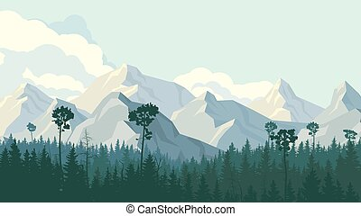 Horizontal illustration of coniferous forest with mountains....