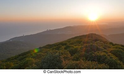 Haze in the mountains View from Mount Akhun. Sochi, Russia....
