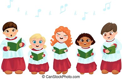 Caroling kids set - Little kids in church costumes going...