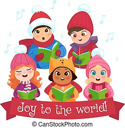 Caroling kids composition - Little kids in winter clothing...
